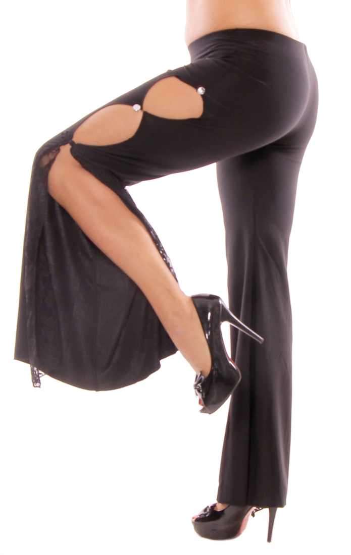 High-Slit Bell Bottom Fusion Belly Dance Pants with Lace - BLACK