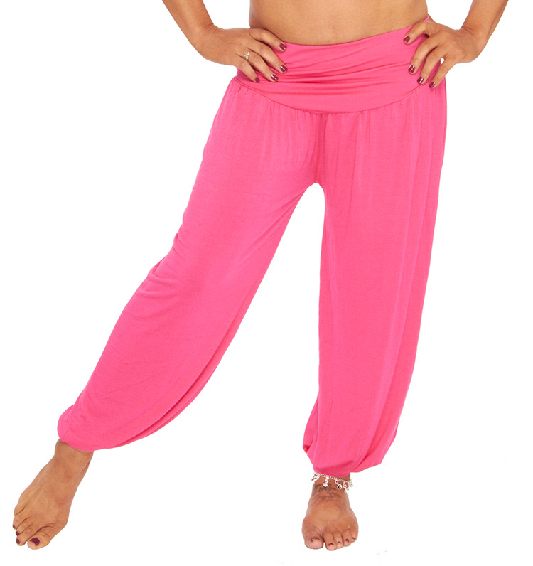 079a586ef6 Comfortable Stretch Harem Pants in Dark Pink