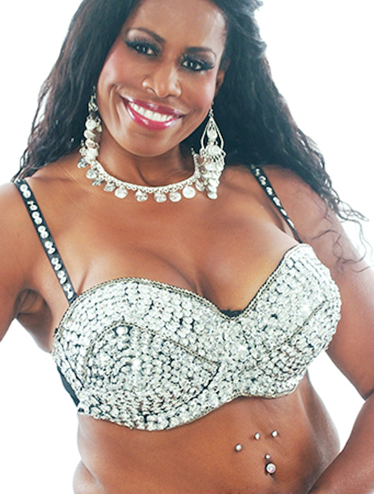 Plus Size Sequin Beaded Cabaret Bra - SILVER