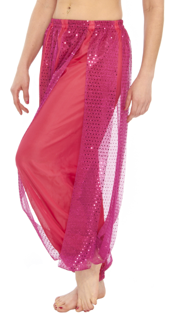 Harem Pants with Shiny Sequin Dot Panels - ROSE PINK/FUCHSIA