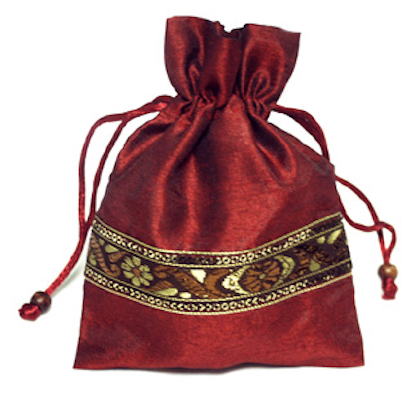 Organza Zill Bag with Embroidered Trim - BURGUNDY
