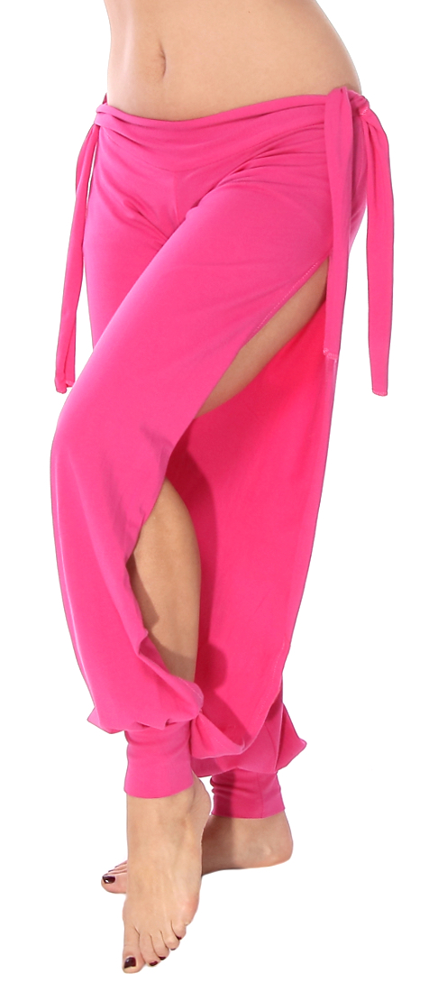 Comfortable Stretch Harem Pants with Side Ties & Slits - DARK PINK