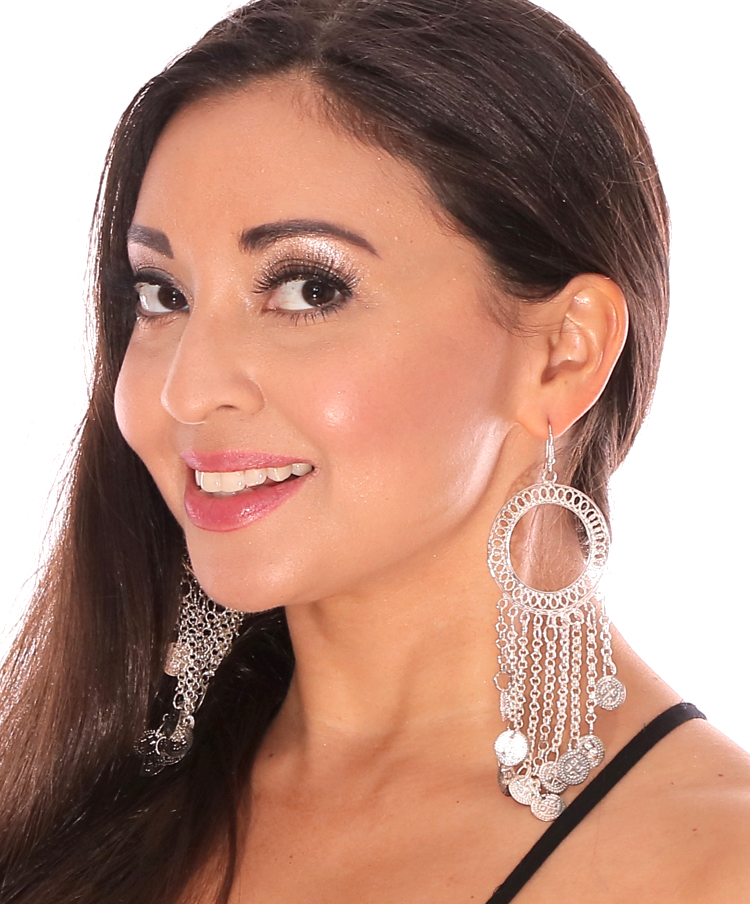 Traditional Belly Dance Hoop and Coin Dangle Earrings - SILVER