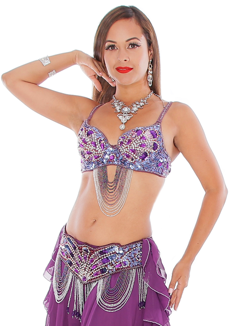 Art Deco Professional Belly Dance Costume Set with Beads & Rhinestones - PURPLE