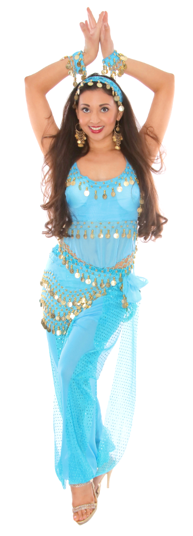 Belly Dancer Harem Genie Costume - BLUE TURQUOISE / GOLD