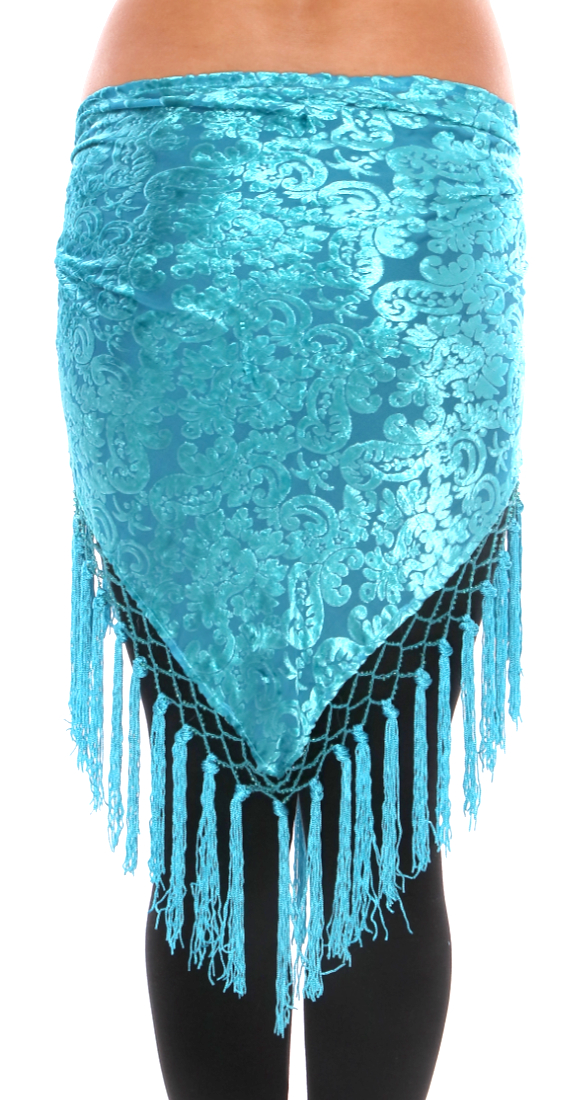 Burnout Velvet Triangle Hipscarf with Tassels - BLUE TURQUOISE