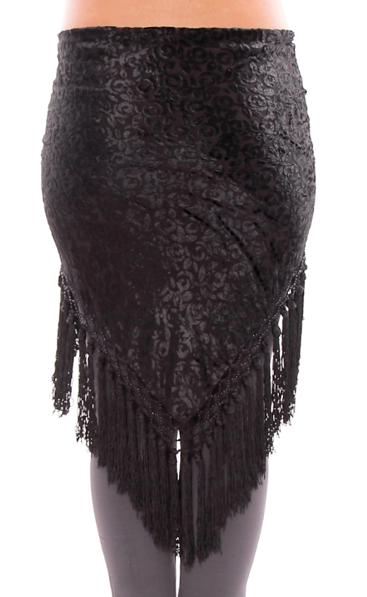 Burnout Velvet Triangle Shawl Hipscarf with Tassels - BLACK