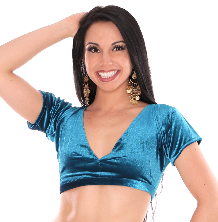 Short Sleeve Velvet Tribal Choli Top - TEAL BLUE