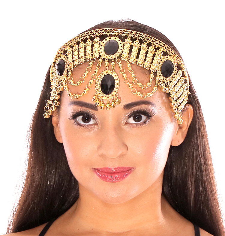 Arabian Nights Belly Dance Costume Headband with Faux Jewels - BLACK