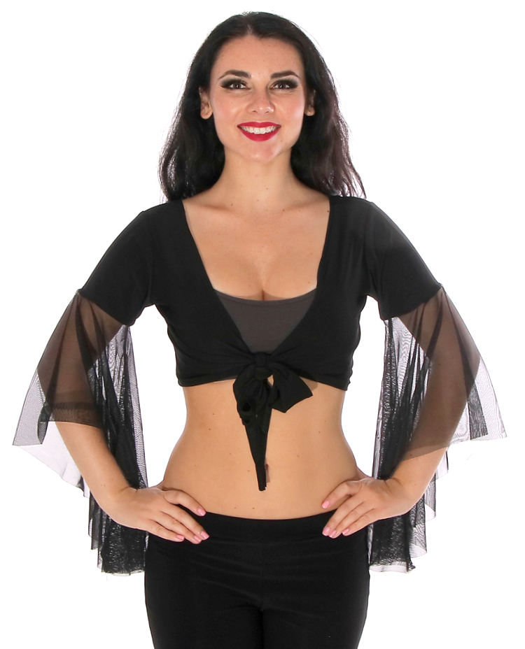 Choli Top with Mesh Butterfly Sleeves - BLACK