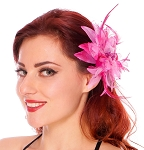 Hair Flower with Feather Accents - FUCHSIA