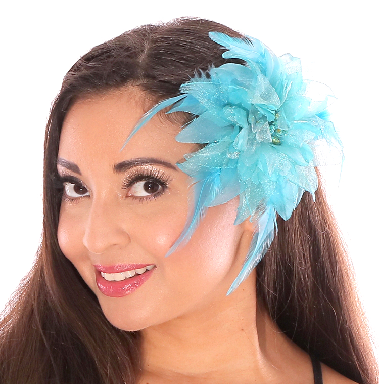 Hair Flower with Feather Accents - LIGHT BLUE TURQUOISE