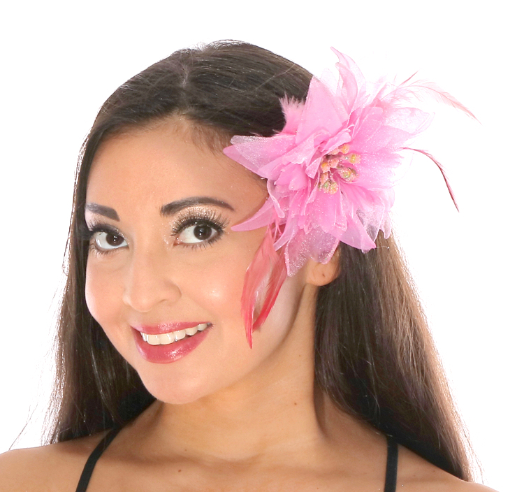 Hair Flower With Feather Accents Pink