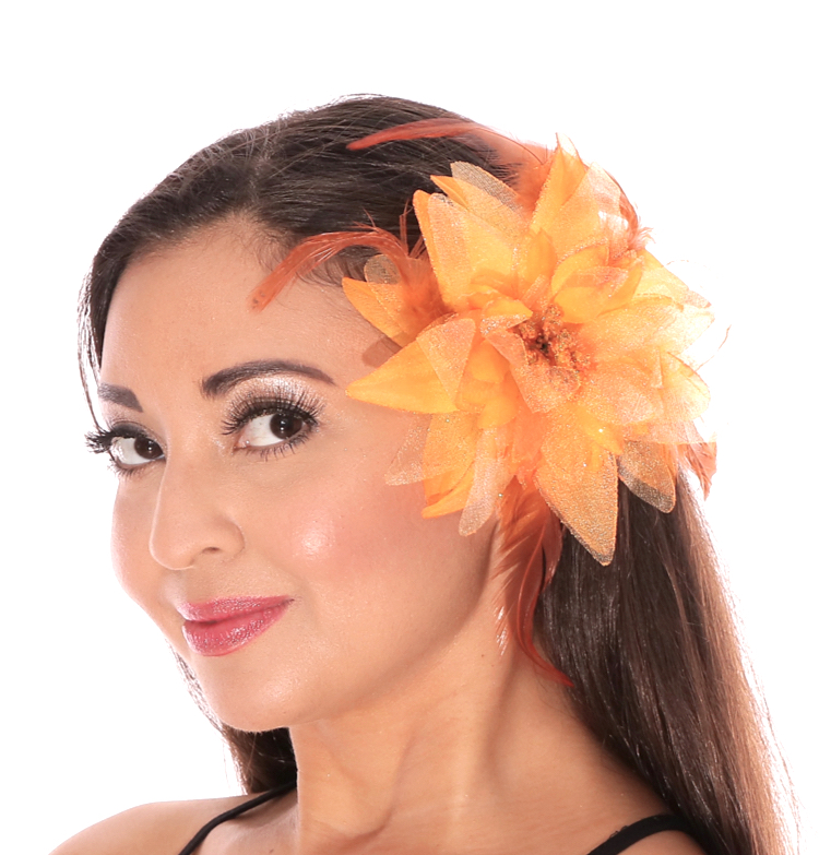 Hair Flower with Feather Accents - ORANGE