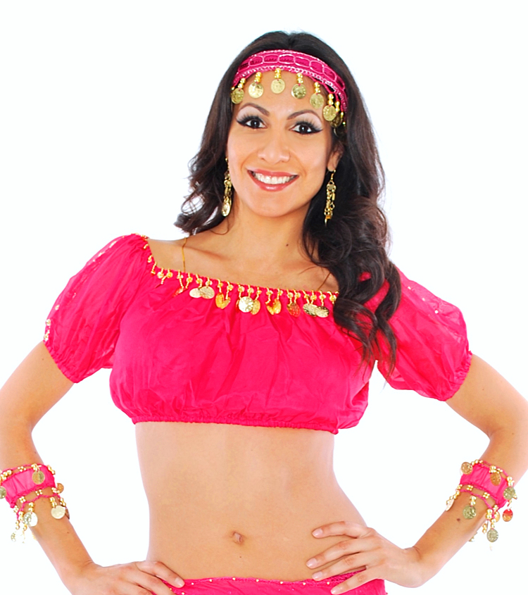 Chiffon Gypsy Belly Dancer Bollywood Half Top with Coins - ROSE PINK