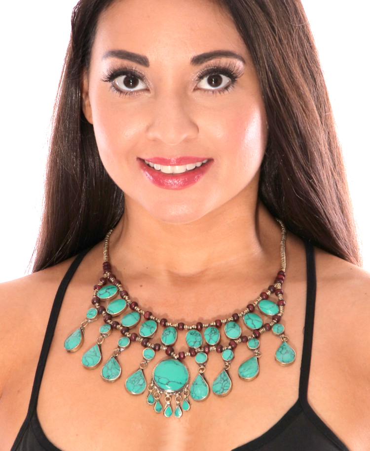 Deluxe Afghani Kuchi Tribal Teardrop Necklace - TURQUOISE GREEN