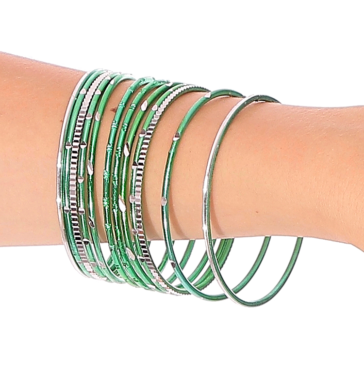 Etched Metal Bangles SET of 12 - GREEN