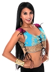 Embroidered Tribal Lace-Up Choli Top - TEAL