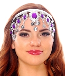 Arabesque Metal Head Piece with Coins & Jewels - SILVER / DARK PURPLE