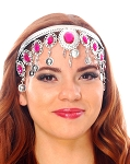 Arabesque Metal Head Piece with Coins & Jewels - SILVER / DARK PINK