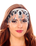 Arabesque Metal Head Piece with Coins & Jewels - SILVER / BLACK