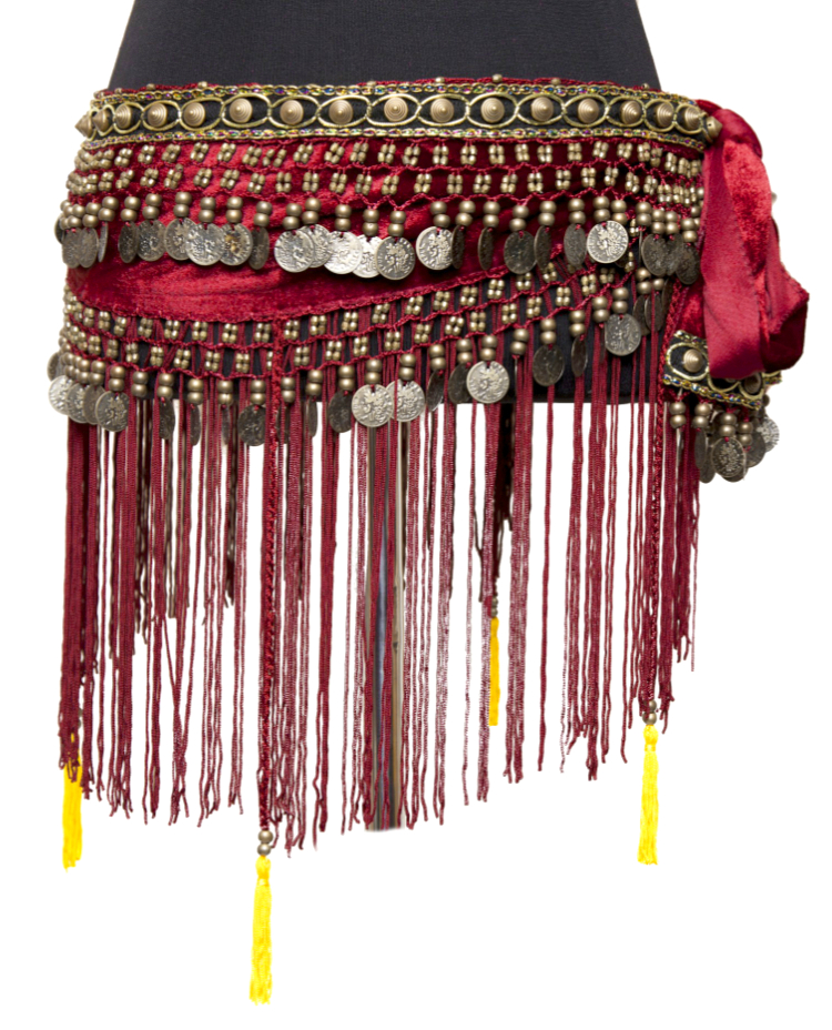 Velvet Tribal Hip Scarf with Bronze Coins, Fringe & Tassles - BURGUNDY