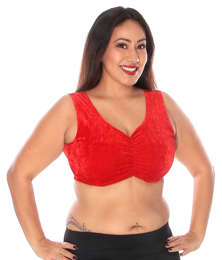 Sleeveless Velvet Choli Top - RED