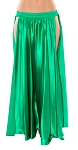 Satin Panel Circle Skirt for Belly Dancing - EMERALD GREEN