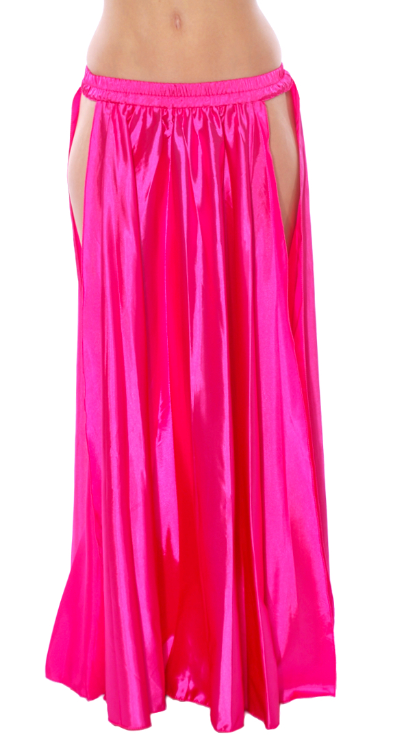 Satin Panel Circle Skirt for Belly Dancing - HOT PINK