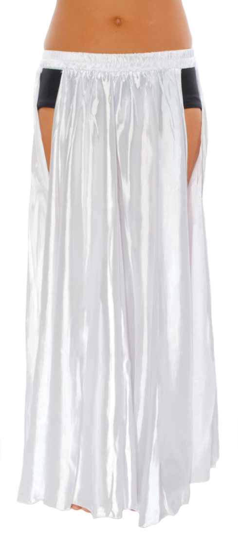 Satin Panel Circle Skirt for Belly Dancing - WHITE