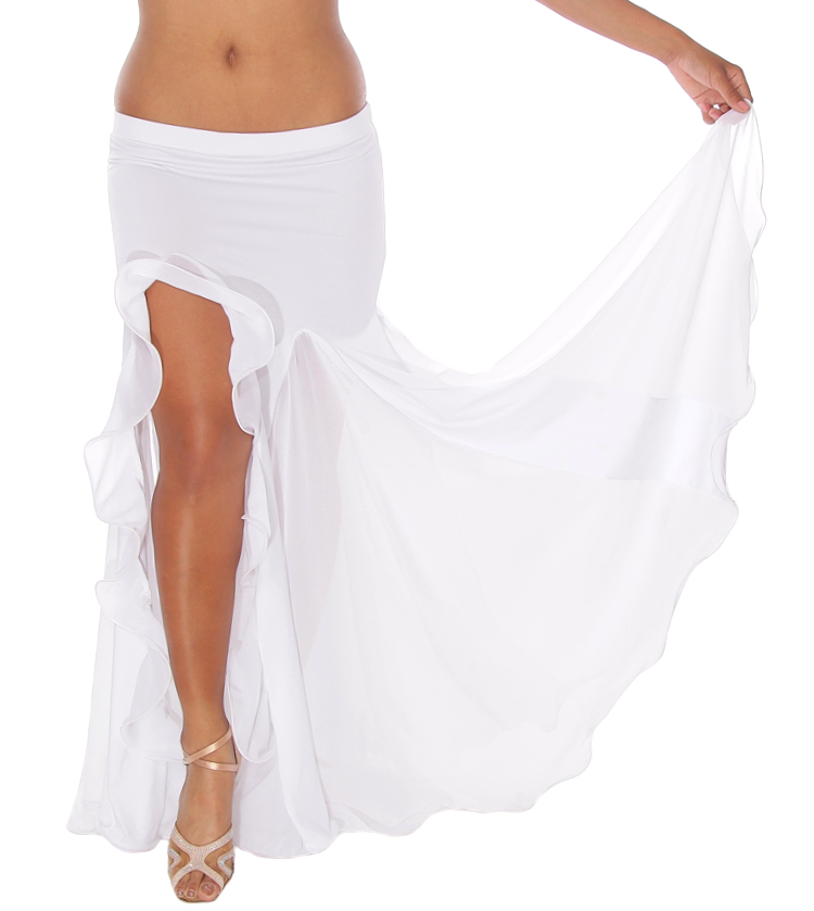 Egyptian Style Belly Dance Skirt with Ruffle Side Slit - WHITE