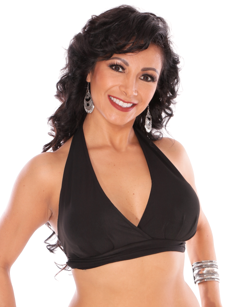 Comfy Stretch Halter Dance Top - BLACK