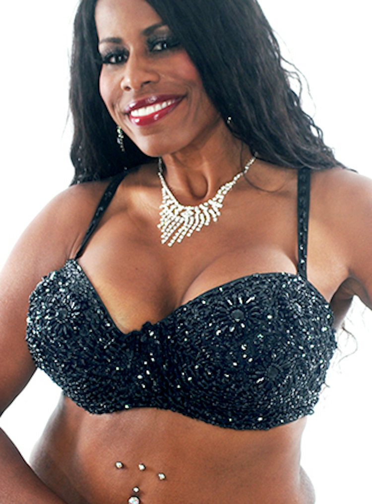 Plus Size Sequin Bra with Beaded Floral Design - BLACK 36J / 38F