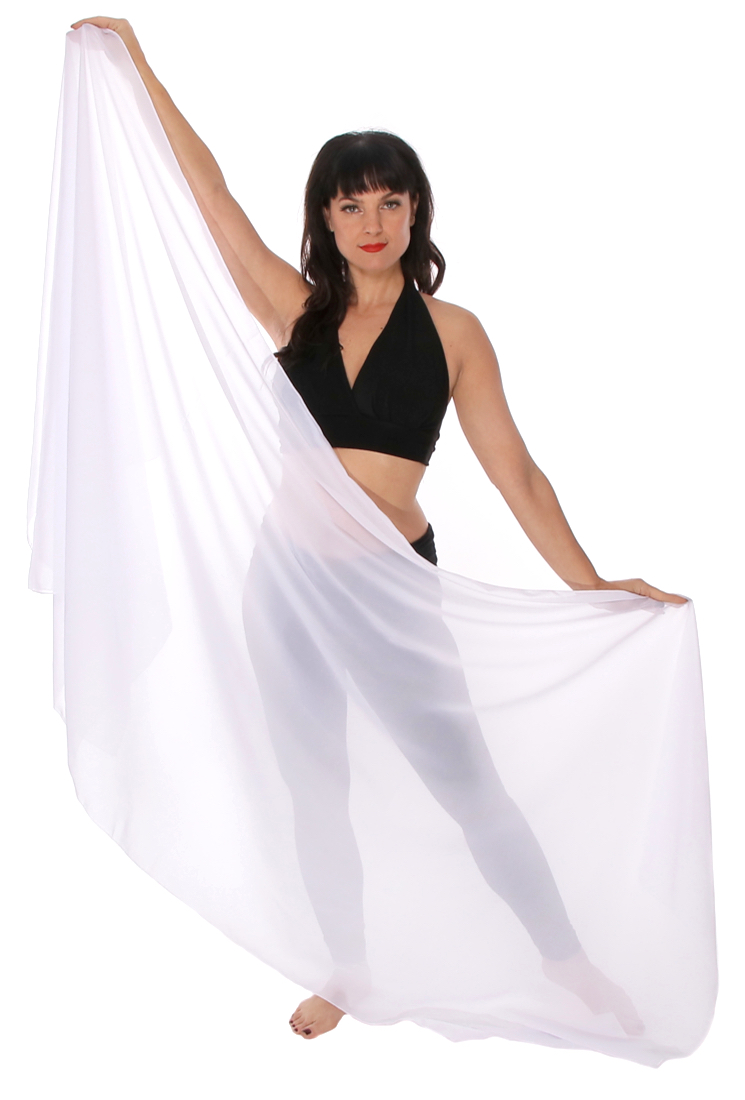 3-Yard Fine Chiffon Silky Lightweight Belly Dance Veil - WHITE