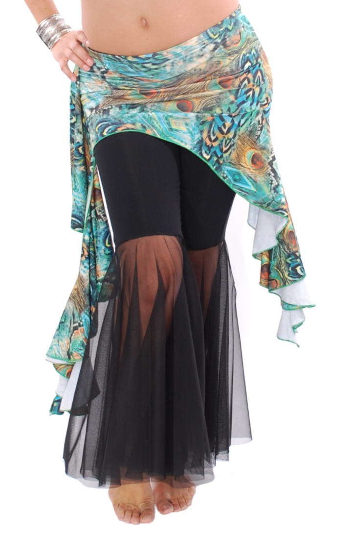 Asymmetric Dance Fusion Overskirt with Side Ruffles - TURQUOISE PEACOCK