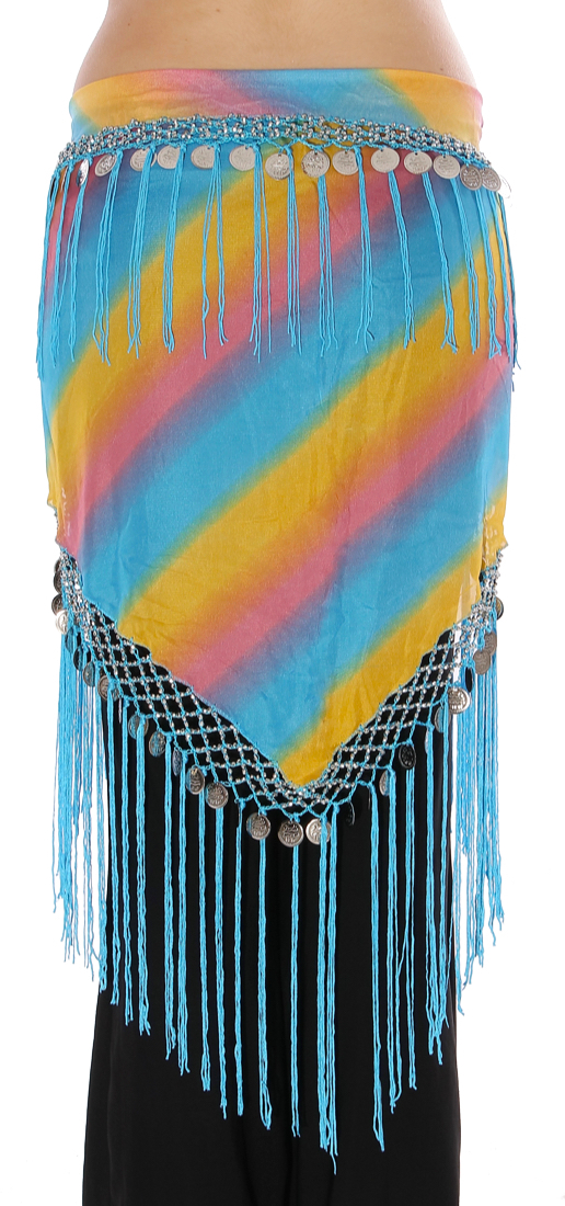 Triangle Chiffon Hip Scarf with Coins & Fringe - BLUE RAINBOW / SILVER