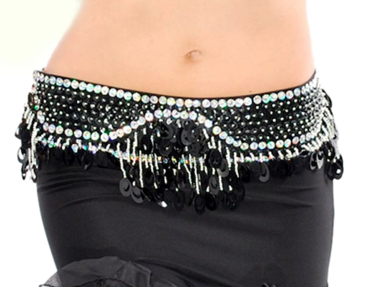 Sequin Beaded Belly Dance Belt with Teardrop Paillettes - BLACK ... 817255596