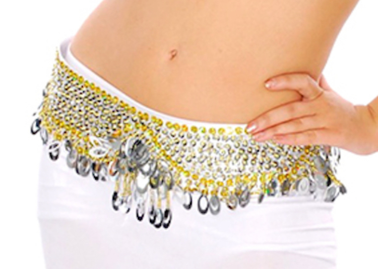 Sequin Beaded Belly Dance Belt with Teardrop Paillettes - SILVER / GOLD
