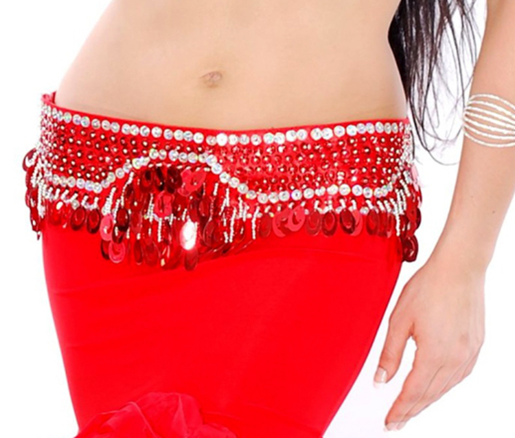 Sequin Beaded Belly Dance Belt with Teardrop Paillettes - RED / SILVER