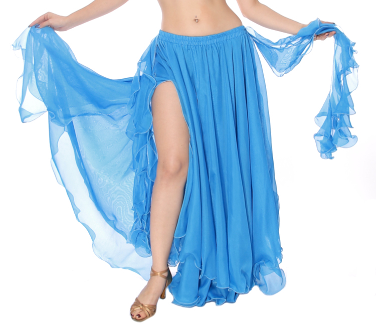 2-Layer Chiffon Belly Dance Skirt with Ruffle Fringe - BLUE TURQUOISE