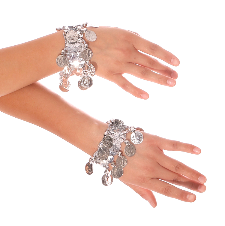 Sequin Stretch Bracelets with Coins (PAIR) - SILVER