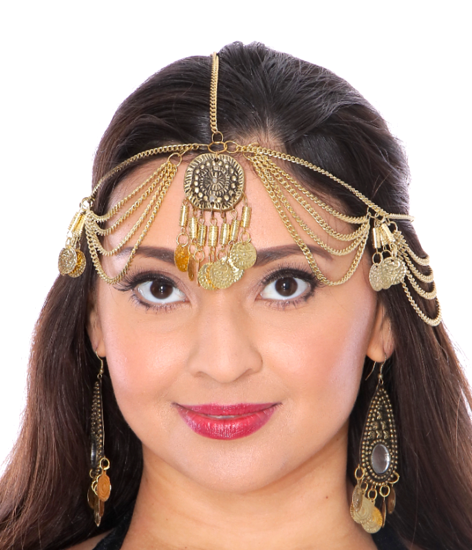 Metal Coin Headpiece with Large Medallion - GOLD