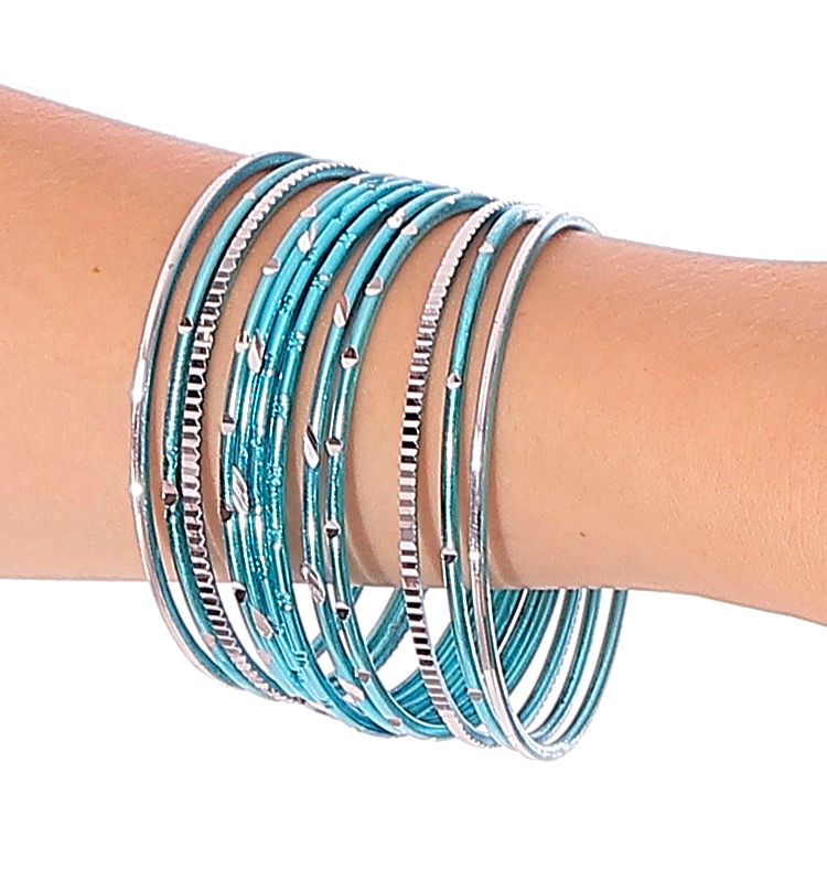 Etched Metal Bangles SET of 12 - TURQUOISE