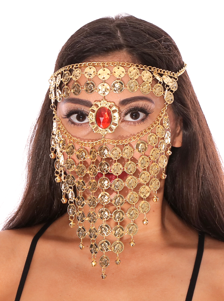 Bedouin Style Belly Dancer Coin Full Face Veil with Gem - GOLD