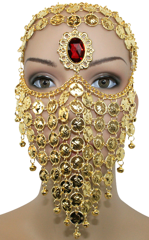 6790 Bedouin Style Belly Dancer Coin Full Face Veil With Gem
