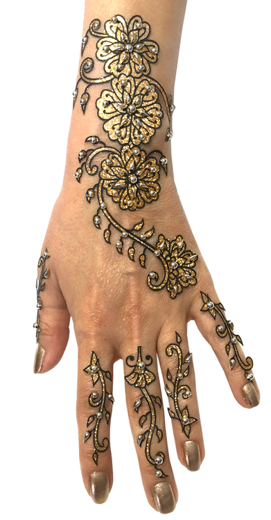 88c4f54314863 6-Piece Glitter and Beads Henna Temporary Tattoo Set in Gold