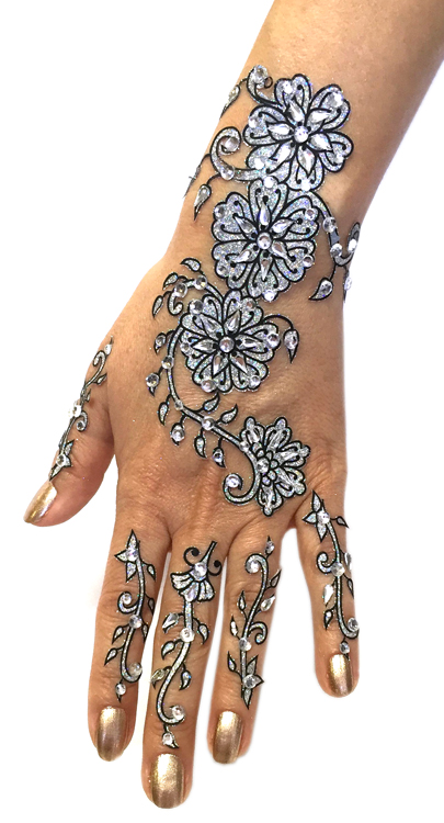 6-Piece Glitter and Beads Stick-On Henna Temporary Tattoo Set - SILVER