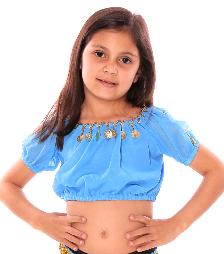 b1a5739e229a Girls Chiffon Belly Dance Bollywood Top with Coins in Turquoise Blue