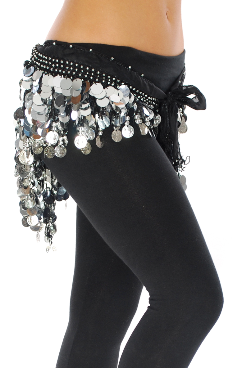 Black Hipscarf With Paillette Fringe And Silver Coins
