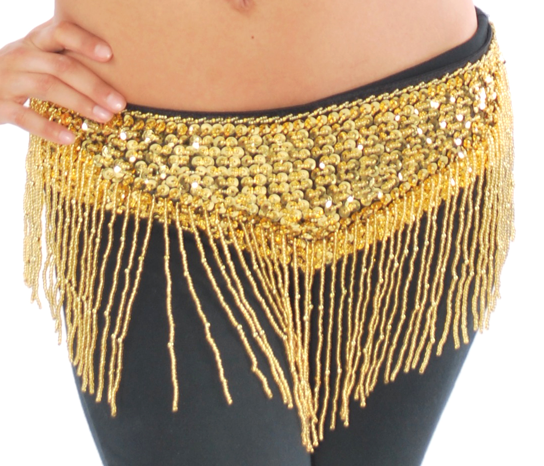 Sequin Belly Dance Costume Belt with Beaded Fringe - GOLD